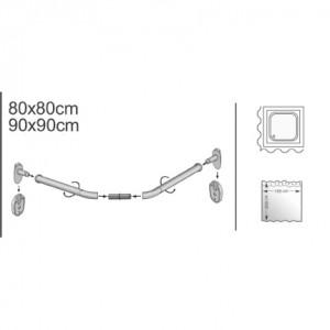 Držač zavese za kadu polukružni BELI 80x80 i 90x90 MSV FRANCE 140589
