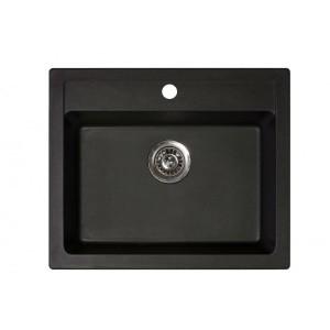 METALAC Granitna sudopera X Granit  Quadro 60 600x500 fi 90 sa sifonom CRNA 161965