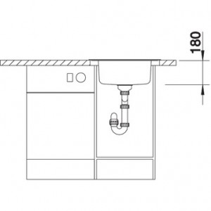 BLANCO RONDOVAL sudopera, 535x490mm, dorada četkom 513313, sa polusifonom