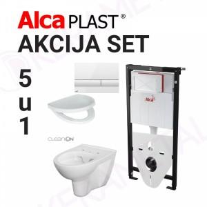 Ugradni vodokotlić Alca plast SET05 sa wc šoljom Cersanit PARVA CLEAN ON 5u1